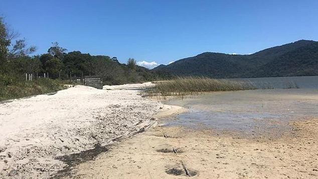 Lagoa do Peri em Florianópolis com nível da água baixando. Crédito: Imagem de divulgação CASAN.