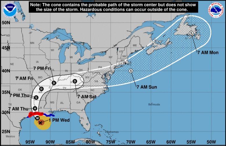 Trajeto previsto para o grande furacão Laura nos próximos dias. Crédito: NHC.