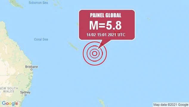 Tremor moderado de magnitude 5.8 ainda aconteceu na região da Nova Caledônia neste domingo, somando a lista de 93 réplicas até agora. Crédito: Google/Apolo11